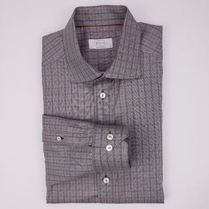 Eton Contemporary Dress Shirt 16 41 Gray Brown Che
